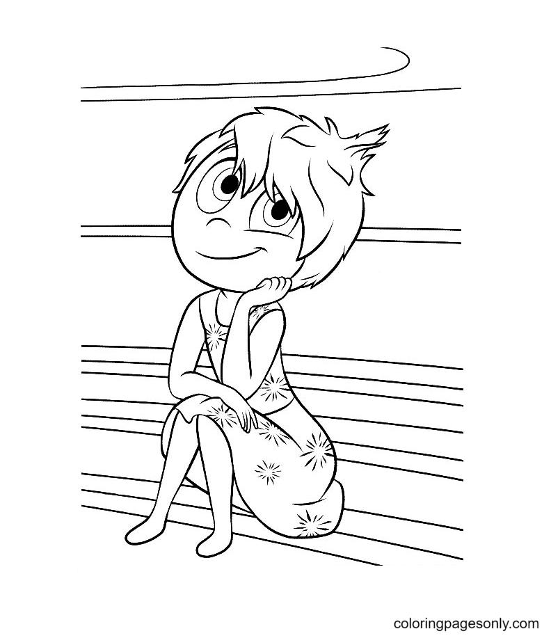 Joy sat thinking Coloring Page