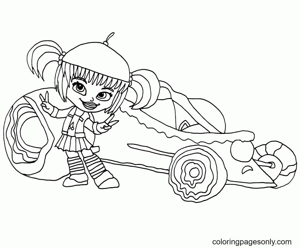 Jubileena Bing-Bing and Her Racing Car Coloring Page