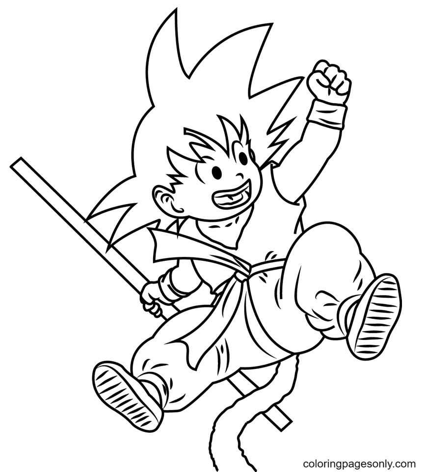 Jumping Goku Coloring Page