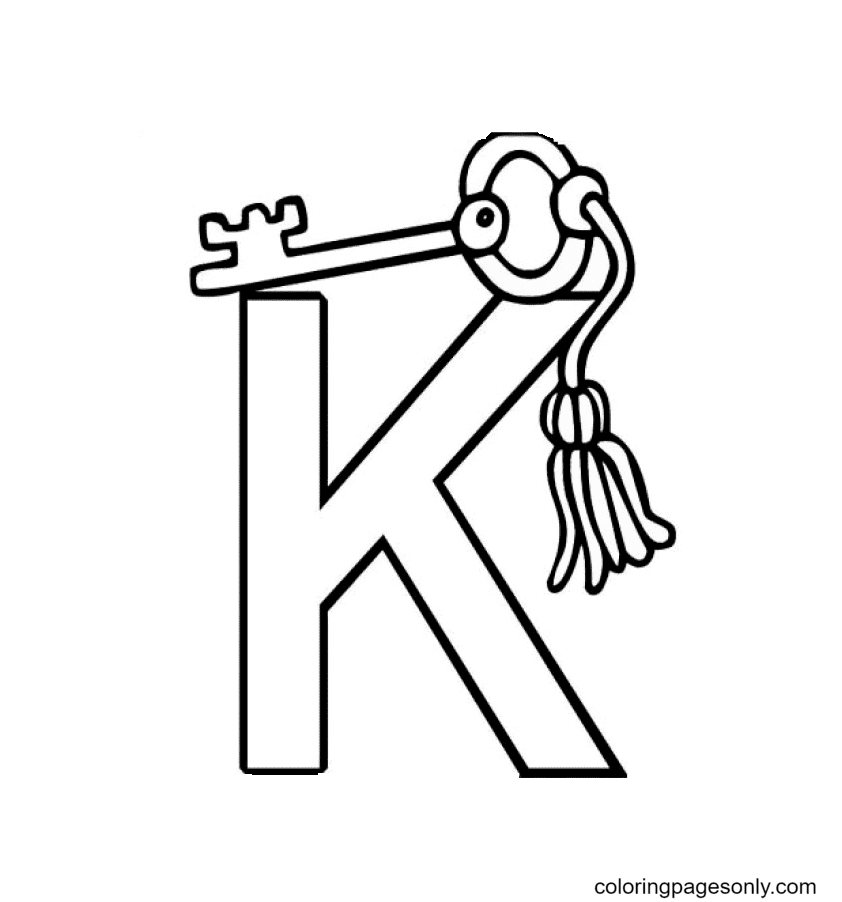 K Is For Key Coloring Page