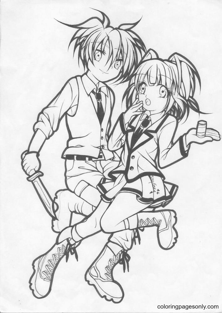 Kaede Kayano and Nagisa Shiota Coloring Page