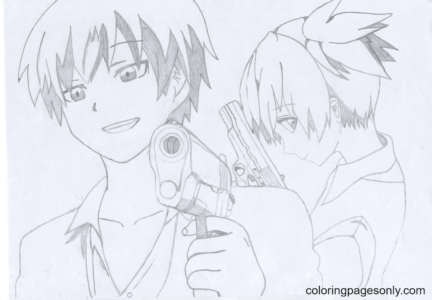 Karma Akabane and Nagisa Shiota Coloring Page
