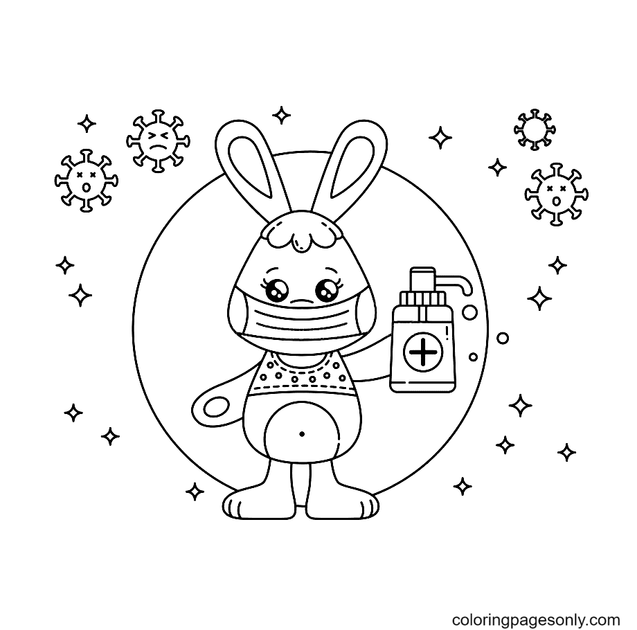Kawaii Bunny With Sanitizer And Mask Coloring Page