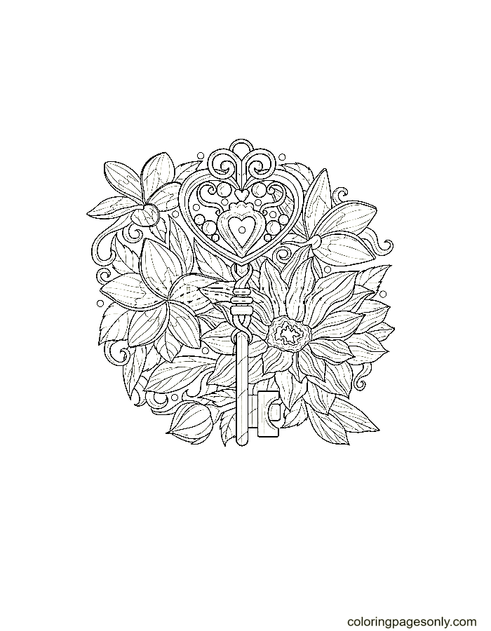 Key Among Flowers Coloring Page