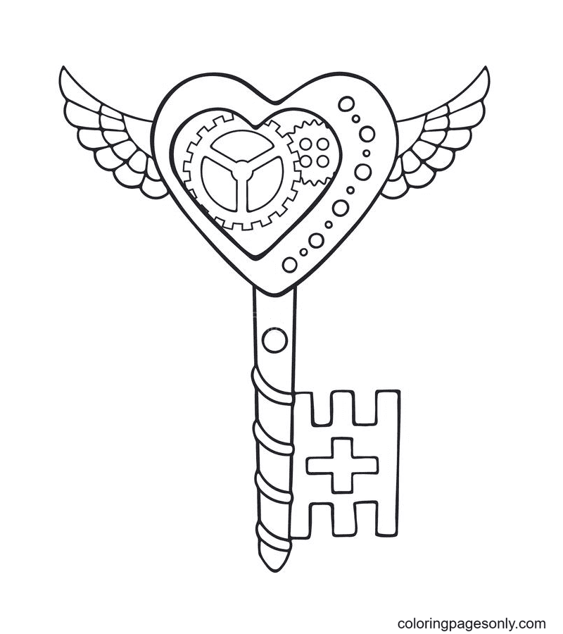 Key In The Style Of Steampunk Coloring Page