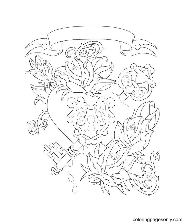 Key to My Heart Coloring Page