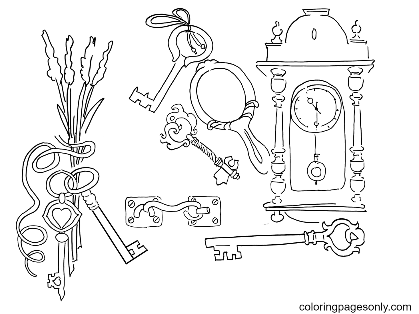 Keys For Children Free Coloring Page