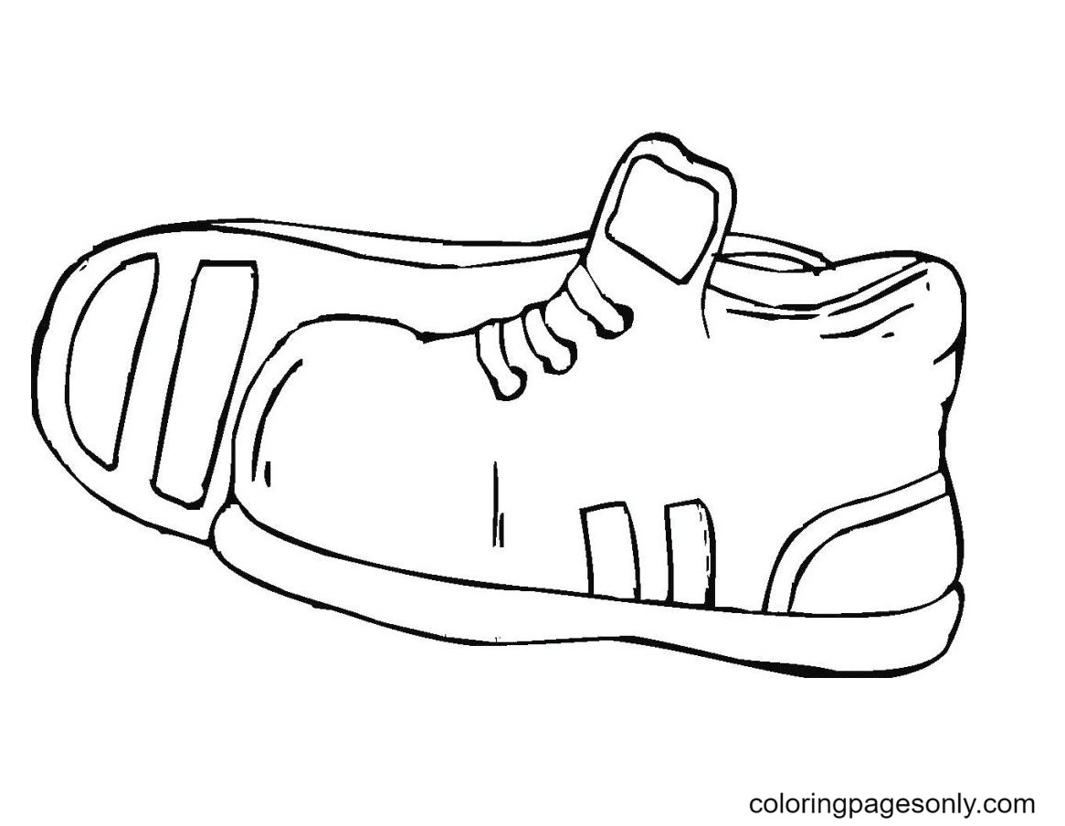 Kids Sport Shoes Coloring Page