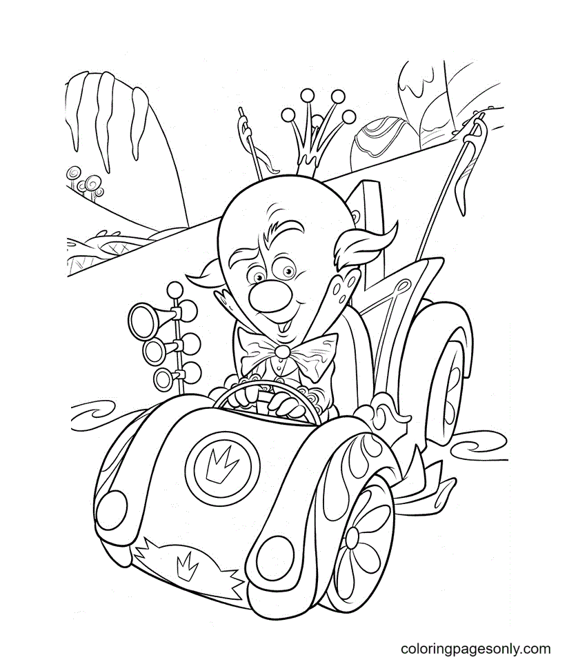King Candy Driving His Racing Car Coloring Page