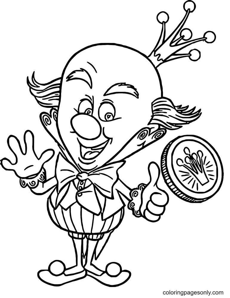 King Candy Flipped a Coin Coloring Page