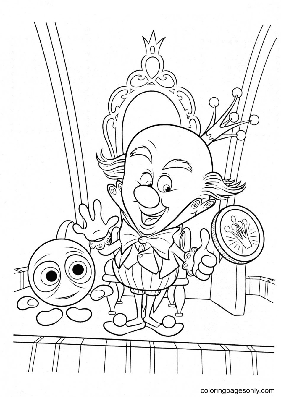 King Candy Is The Ruler of Sugar Rush Coloring Page