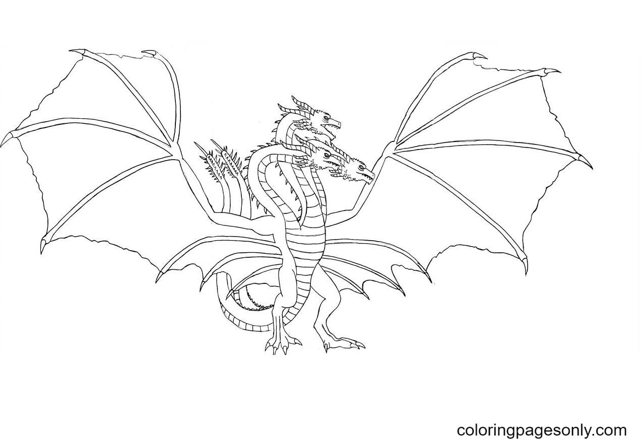 King Ghidorah Drawing Coloring Page