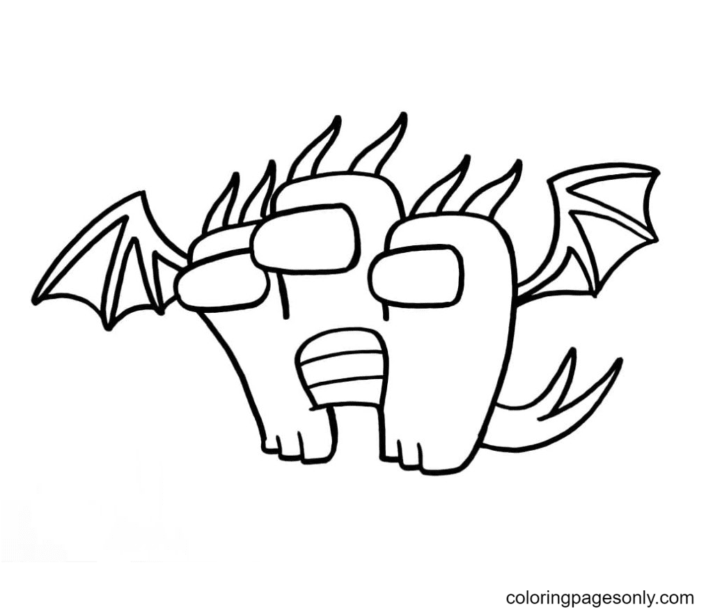King Ghidorah In The Style Of Among Us Coloring Page