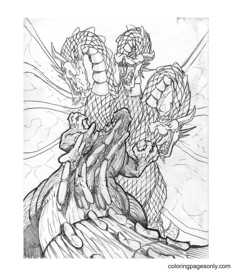 King Ghidorah vs Godzilla Coloring Page
