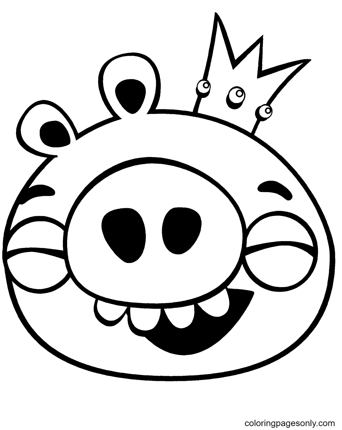 King Pig Laughing Coloring Page