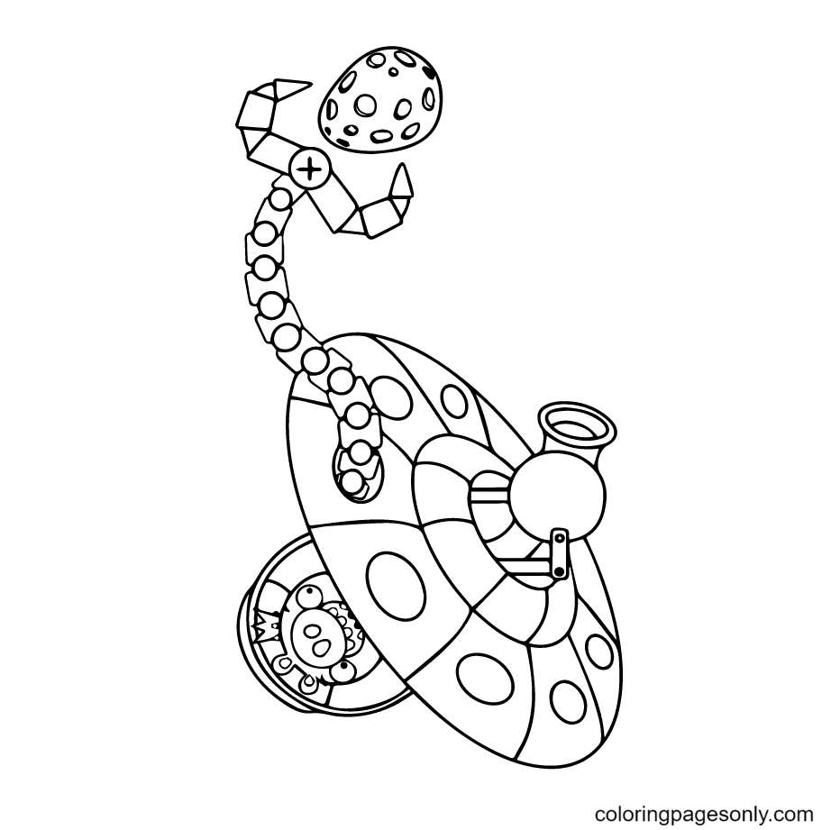 King Pig Space Ship Coloring Page