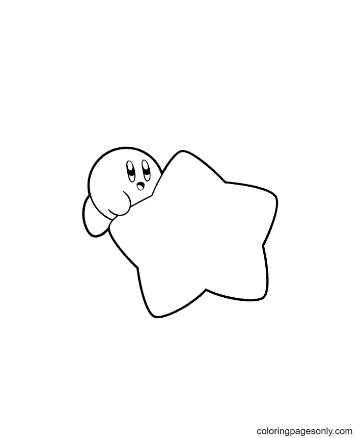 Kirby and Warp Star Coloring Page