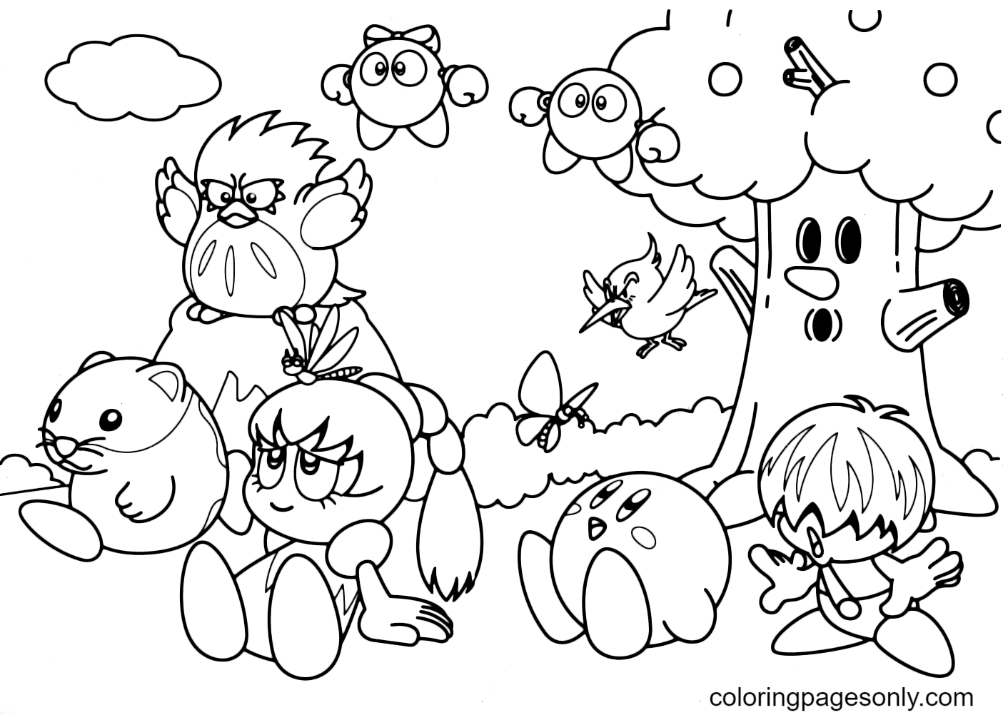 Kirby and his friends Coloring Page