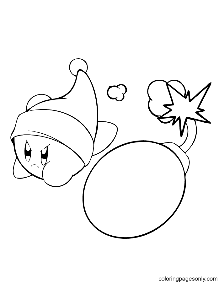 Kirby and the bomb Coloring Page