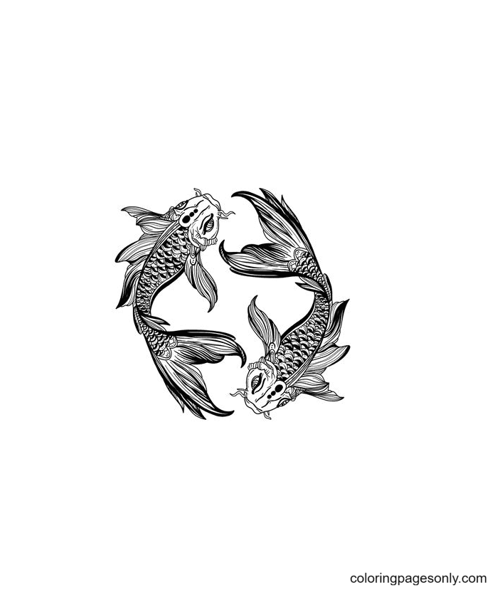 Koi Fish Pisces Coloring Page