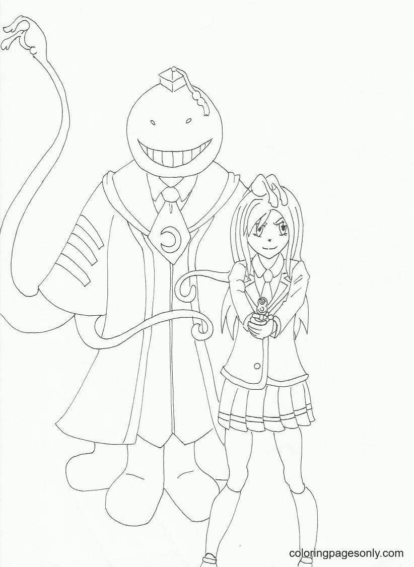 Koro Sensei And Kaede Kayano Coloring Page