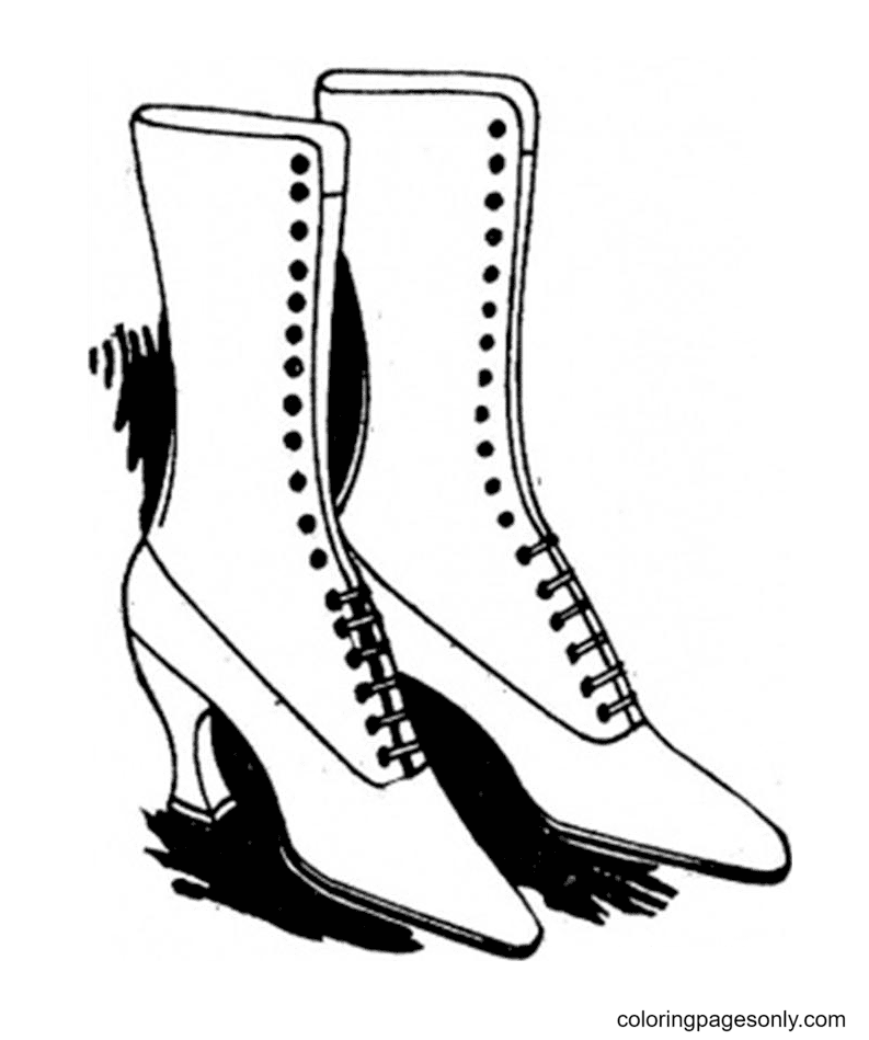 Lady Shoes Coloring Page