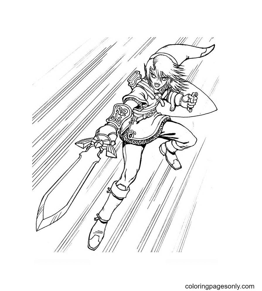 Legend of Zelda Link holds sword and shield Coloring Page