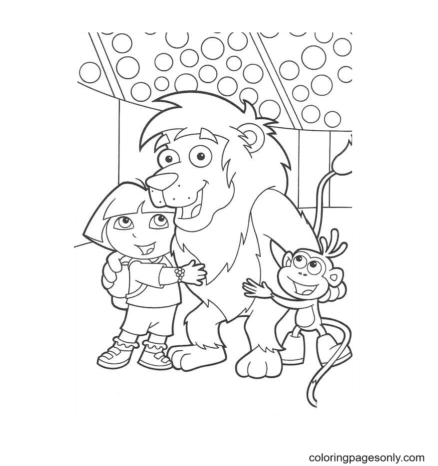 Lion, Dora And Boots Coloring Page