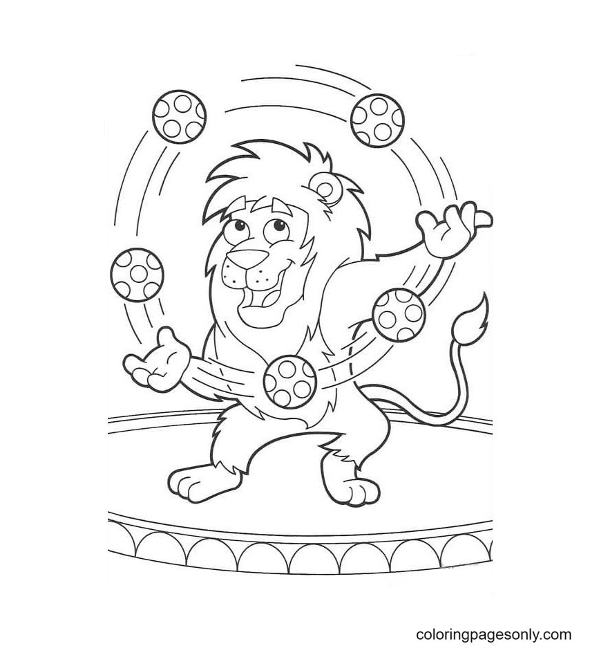 Lion Is Playing The Ball Coloring Page