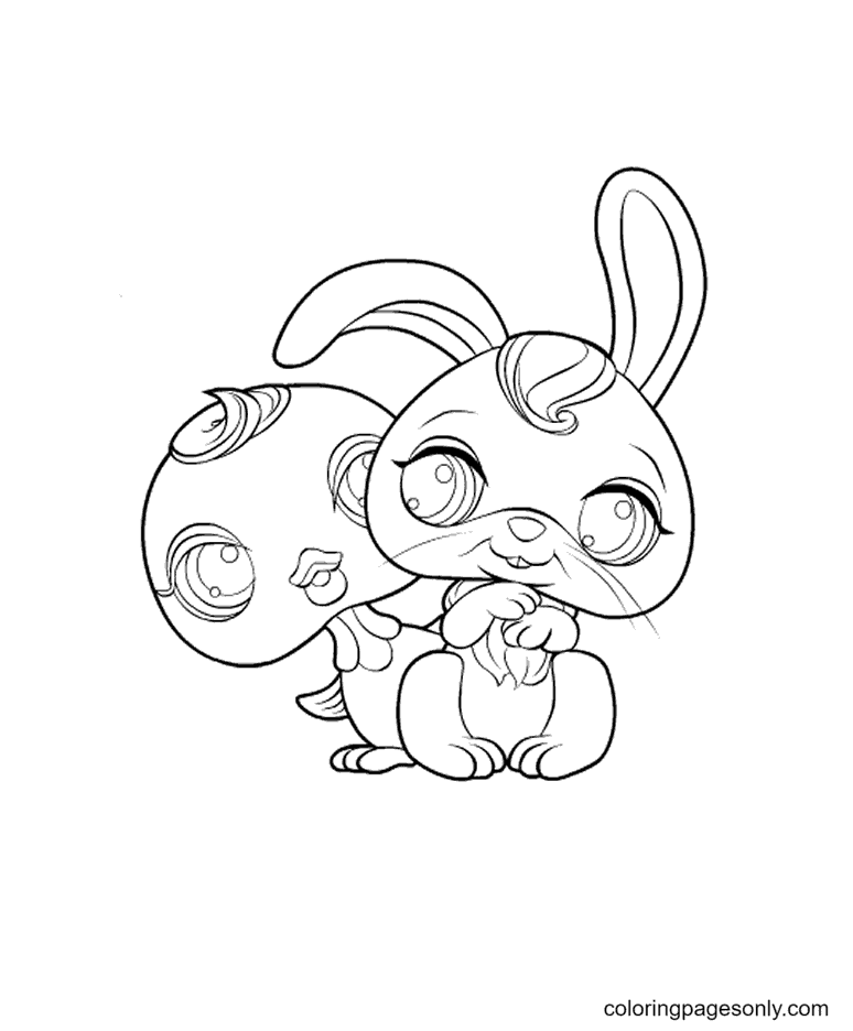 Little Pet Shop Bird and Rabbit Coloring Page