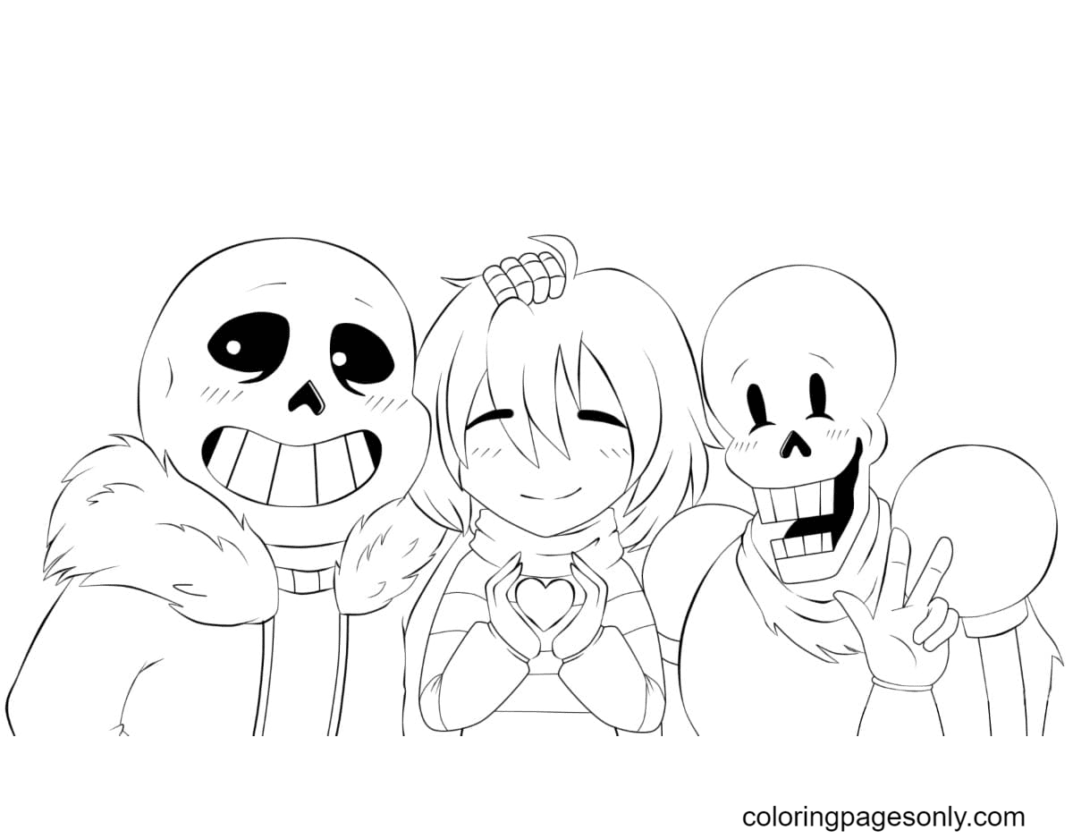 Lovely Papyrus and Sans Coloring Page