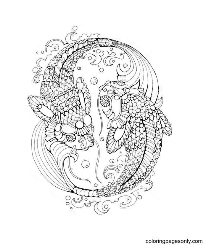 Mandala Pisces Free Coloring Page