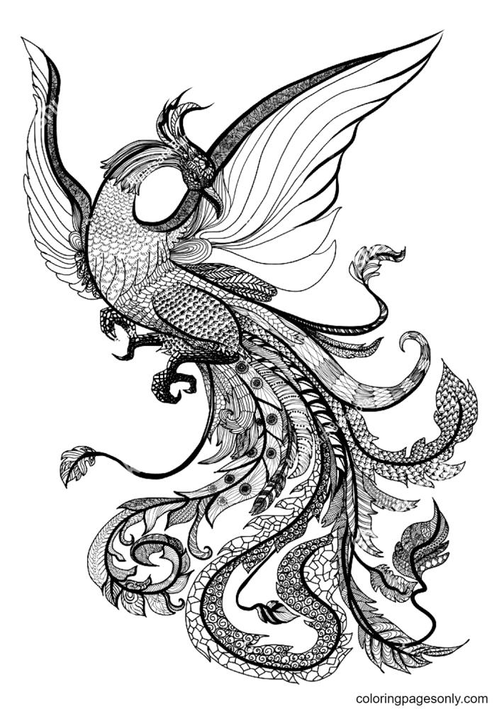 Mandala Style Phoenix Coloring Page