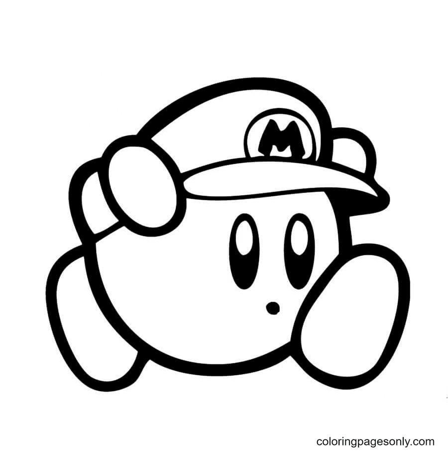 Mario Kirby Coloring Page