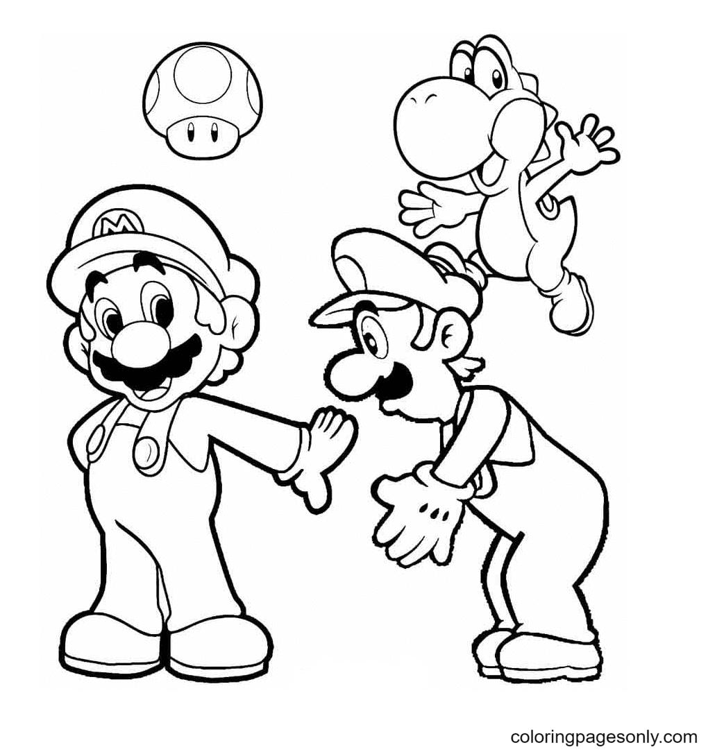 Mario, Luigi, Toad and Yoshi Coloring Page