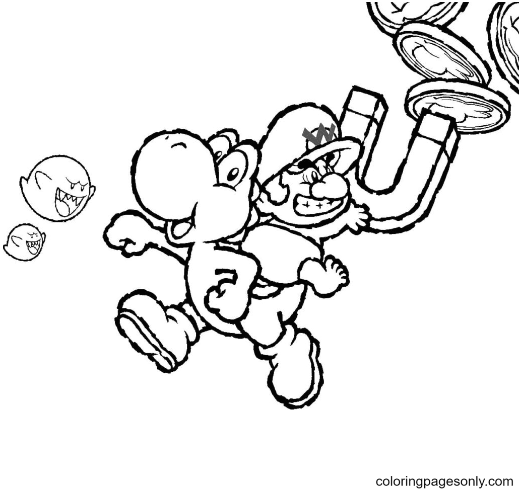 Mario and Yoshi collect coins Coloring Page