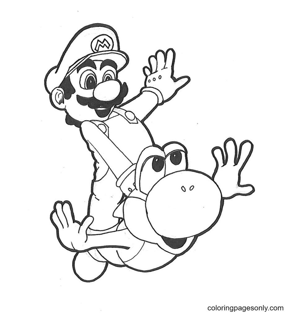 Mario and Yoshi having fun in flight Coloring Page