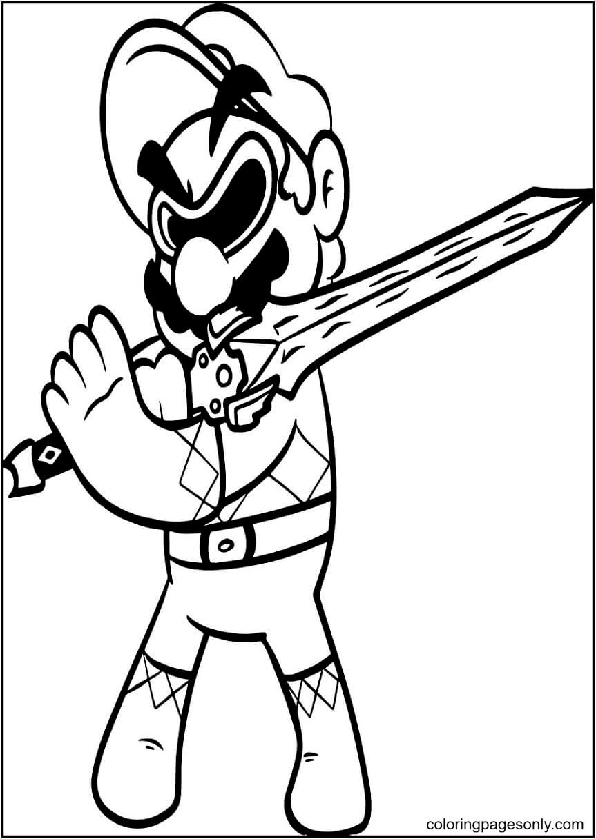Mario with Sword Coloring Page