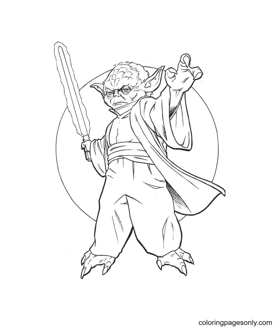 Master Yoda with Sword Coloring Page