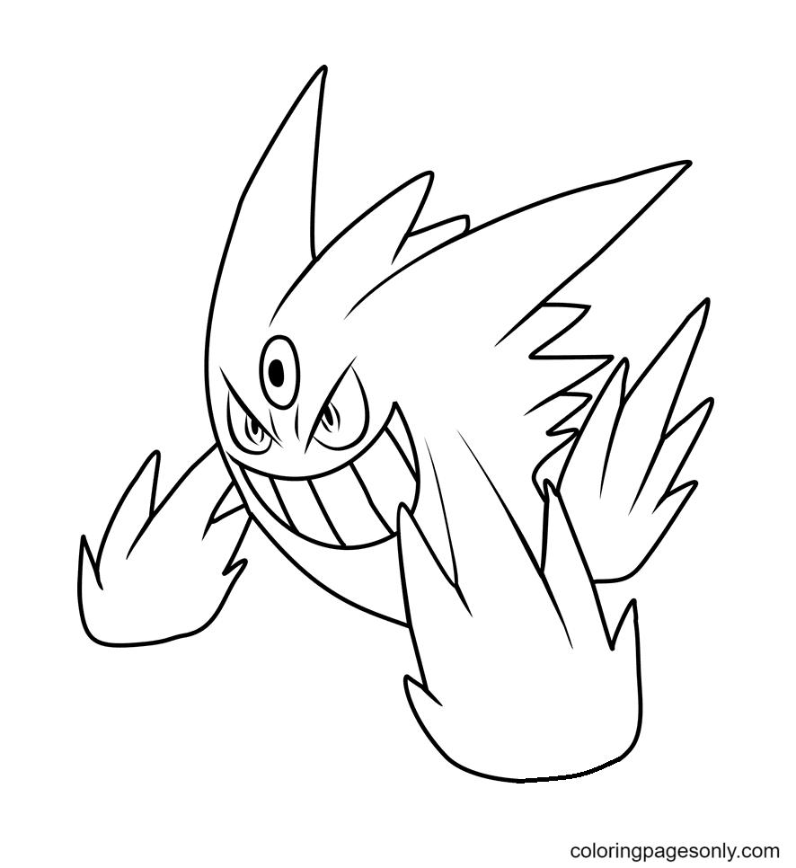 Mega Gengar Characters Coloring Page