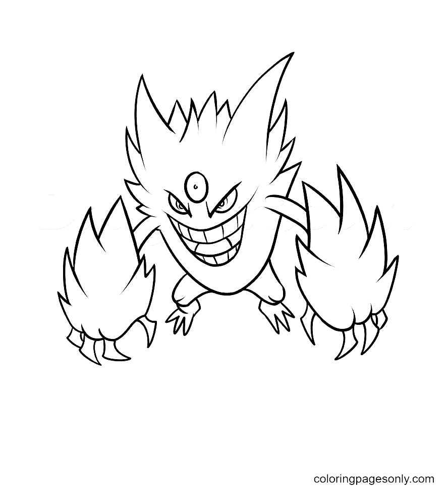 Mega Gengar Pokemon Characters Coloring Page