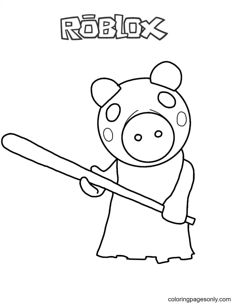 Memory Piggy Roblox Coloring Page