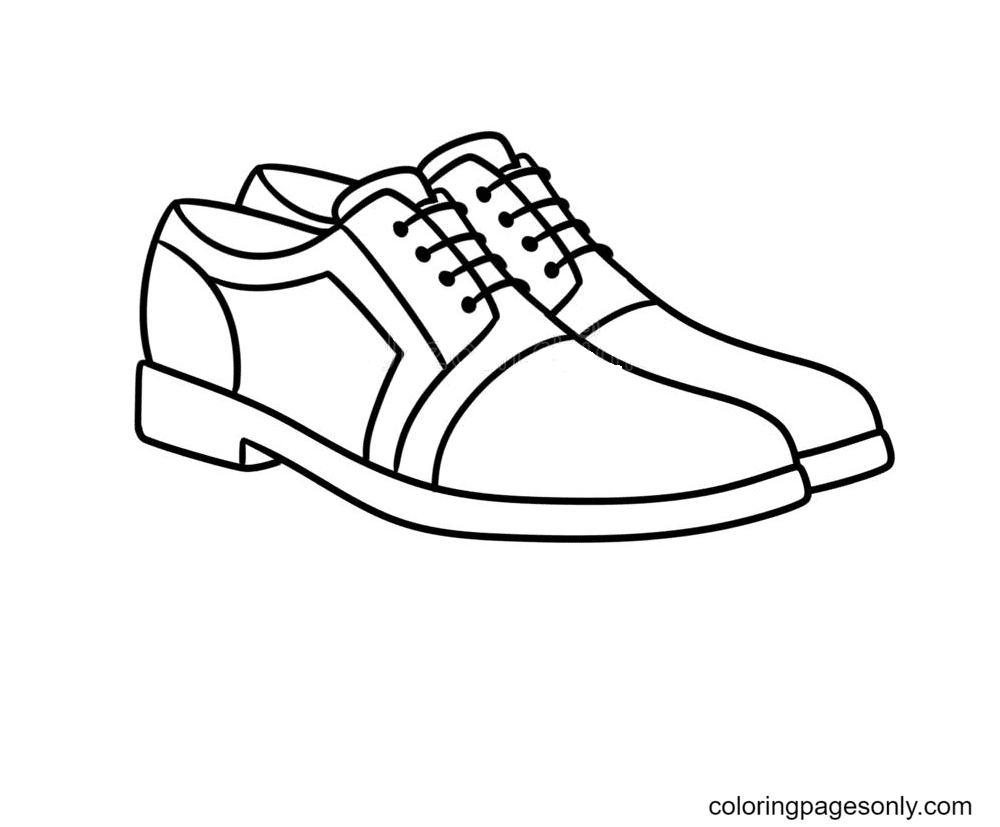 Men New Stylish Shoes Coloring Page