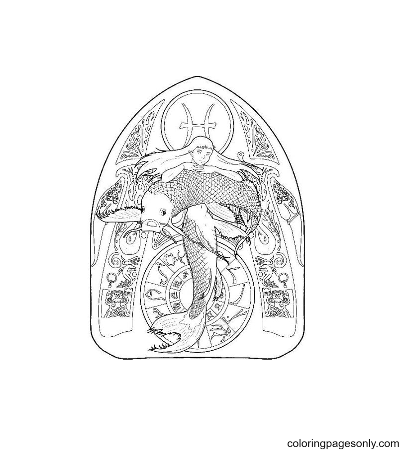 Mermaid Zodiac Pisces Coloring Page