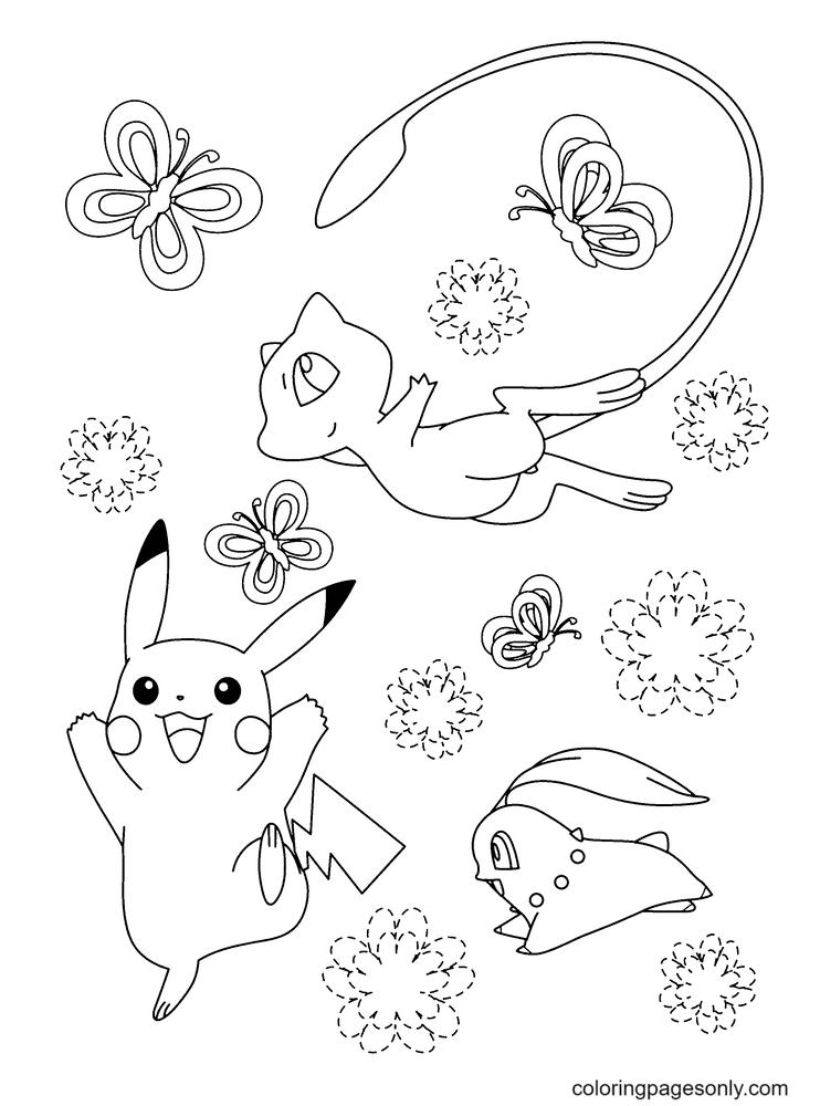 Mew, Pickachu and Chikorita Coloring Page