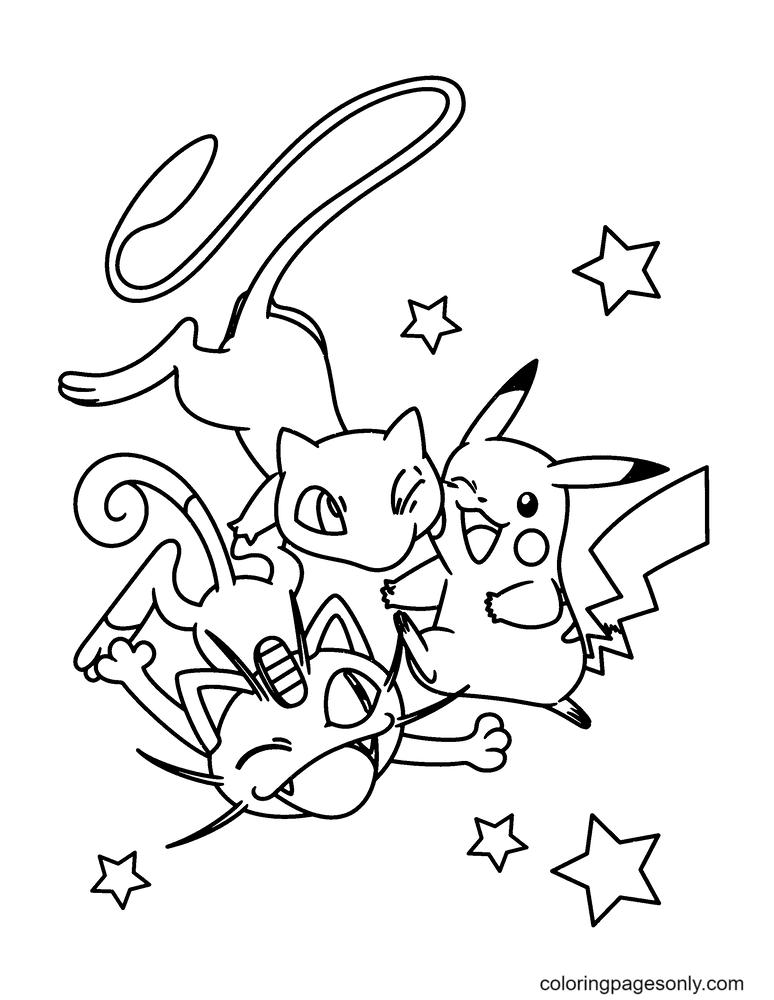 Mew, Pikachu and Nyasu Coloring Page