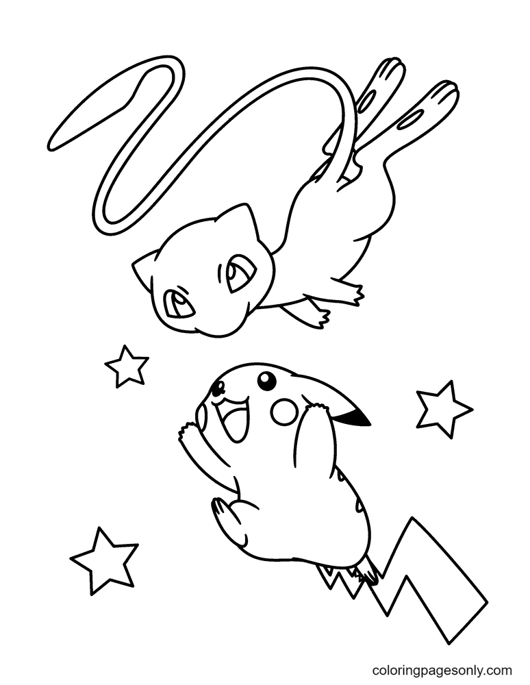 Mew and Pikachu Coloring Page