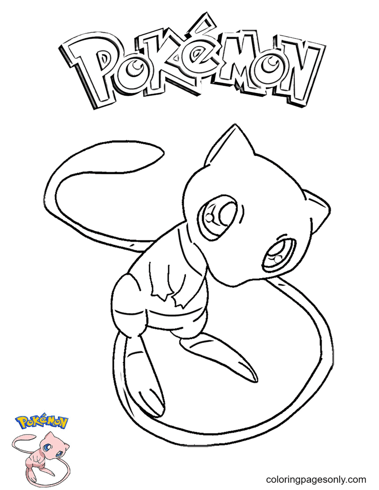 Mew from Pokemon Printable Coloring Page