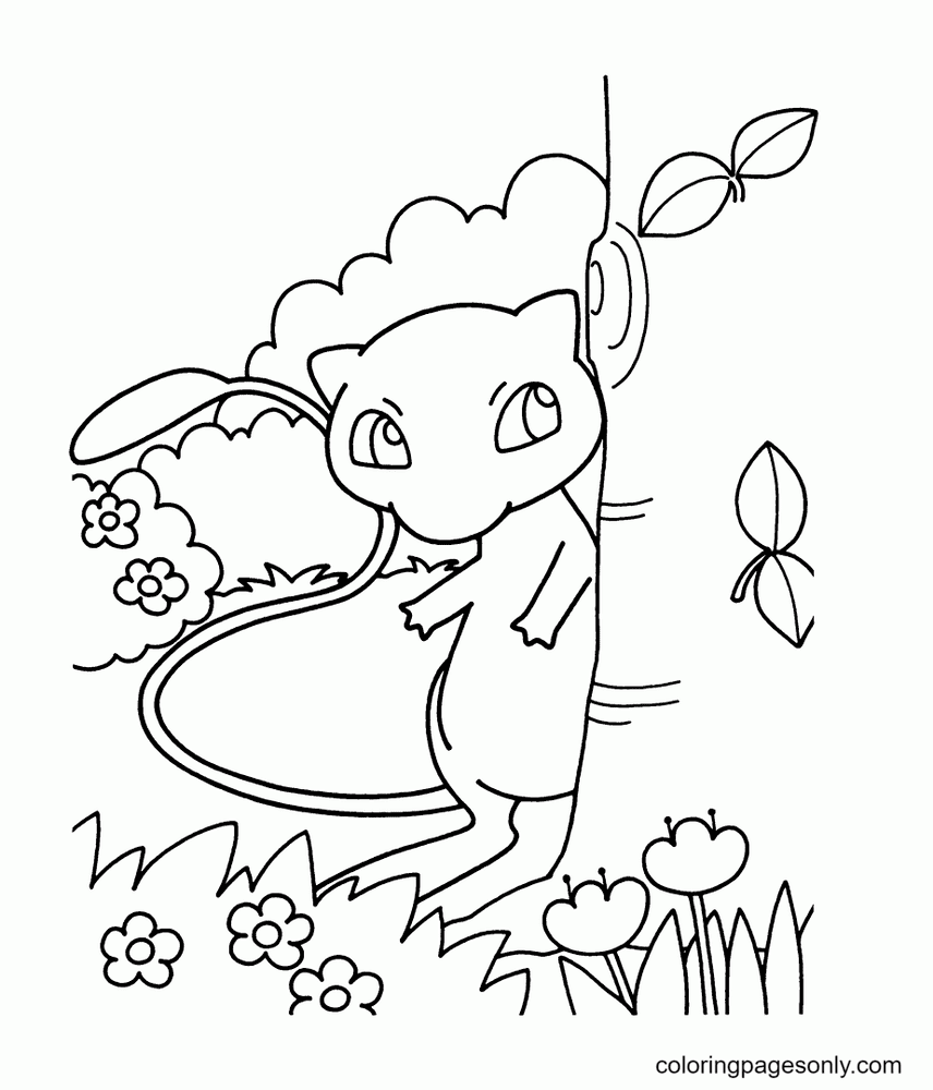 Mew hides behind the tree Coloring Page