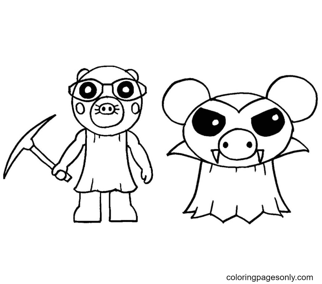 Mimi and Vampire Piggy Coloring Page